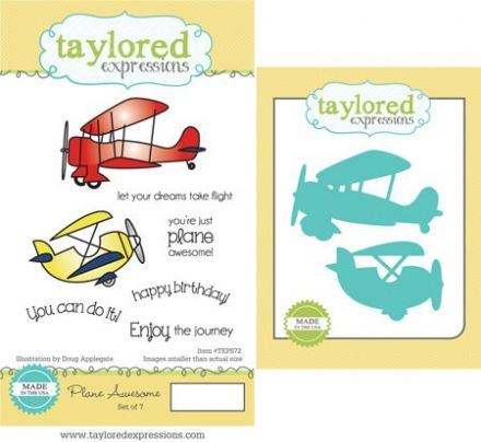 TEPS072 ~ PLANE AWESOME - SET OF 7 Stamps with coordinating dies by Taylored Expressions